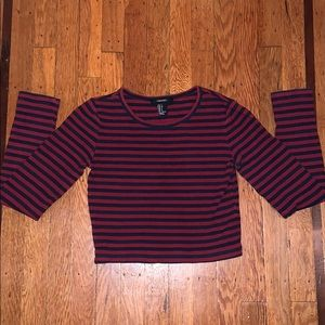 Ribbed Striped Crop Top Sweater